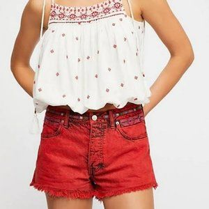Free People Embellished High-Rise Jean Shorts
